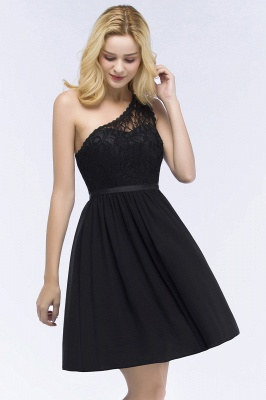 ROSA   A-line Short One-shoulder Lace Top Chiffon Homecoming Dresses with Sash_10
