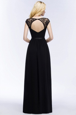 ROSALIA | A-line V-neck Floor Length Lace Chiffon Bridesmaid Dresses with Sash_6