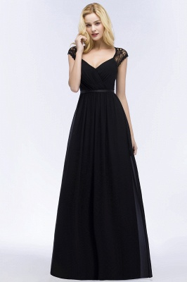 ROSALIA | A-line V-neck Floor Length Lace Chiffon Bridesmaid Dresses with Sash_11
