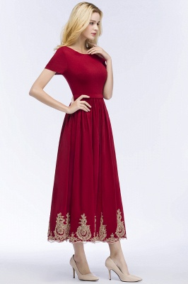 A-line Short Sleeves Ankle Length Appliques Prom Dresses with Sash_4