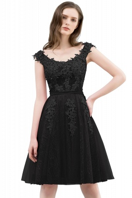 WILMA   Ball Gown Illusion Neckline Tea Length Lace Tulle Dusty Pink Prom Dresses with Beading_5