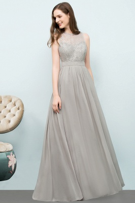 A-line Sleeveless Long Lace Top Chiffon Bridesmaid Dresses_2