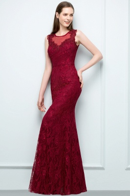 Mermaid Floor Length Sleeveless Lace Burgundy Prom Dresses_6