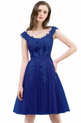 WILMA   Ball Gown Illusion Neckline Tea Length Lace Tulle Dusty Pink Prom Dresses with Beading_3