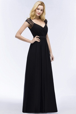 ROSALIA | A-line V-neck Floor Length Lace Chiffon Bridesmaid Dresses with Sash_8