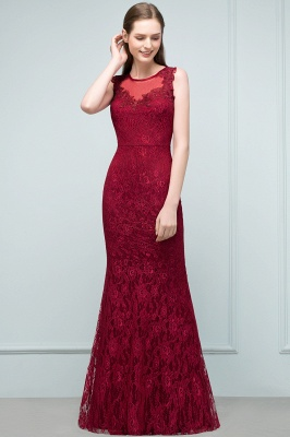 Mermaid Floor Length Sleeveless Lace Burgundy Prom Dresses_5