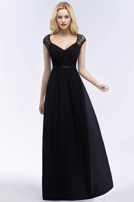 ROSALIA | A-line V-neck Floor Length Lace Chiffon Bridesmaid Dresses with Sash_5