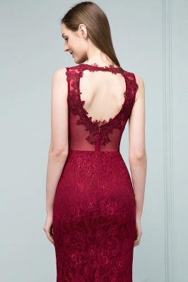 Mermaid Floor Length Sleeveless Lace Burgundy Prom Dresses_9