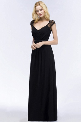 ROSALIA | A-line V-neck Floor Length Lace Chiffon Bridesmaid Dresses with Sash_9