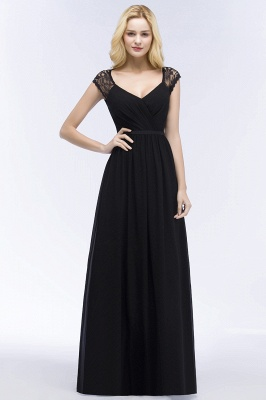 ROSALIA | A-line V-neck Floor Length Lace Chiffon Bridesmaid Dresses with Sash_4