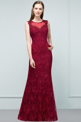 Mermaid Floor Length Sleeveless Lace Burgundy Prom Dresses_1