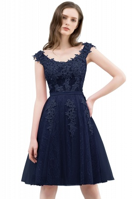 WILMA | Ball Gown Illusion Neckline Tea Length Lace Tulle Dusty Pink Prom Dresses with Beading_4