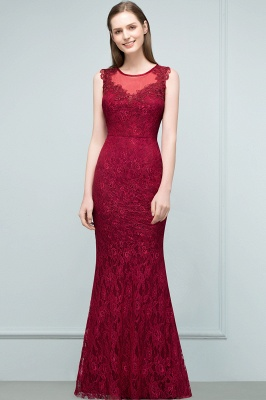 Mermaid Floor Length Sleeveless Lace Burgundy Prom Dresses_7