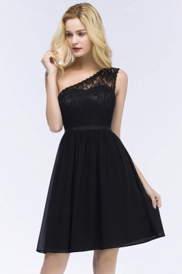 ROSA   A-line Short One-shoulder Lace Top Chiffon Homecoming Dresses with Sash_8
