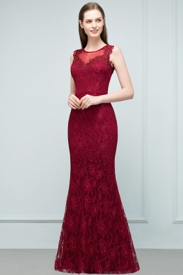 Mermaid Floor Length Sleeveless Lace Burgundy Prom Dresses_4