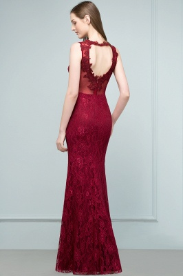 Mermaid Floor Length Sleeveless Lace Burgundy Prom Dresses_3