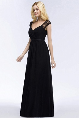 ROSALIA | A-line V-neck Floor Length Lace Chiffon Bridesmaid Dresses with Sash_12