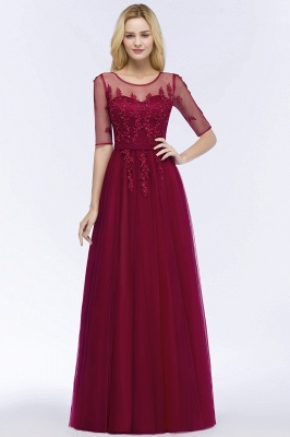 QUEENIE | A-line Floor Length Appliques Tulle Bridesmaid Dresses with Sleeves_9
