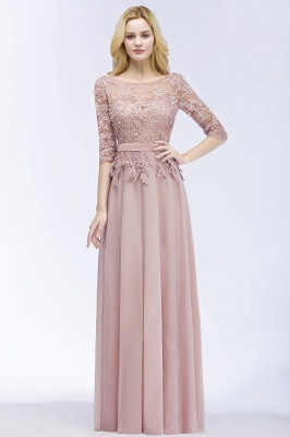 PAMELA | A-line Floor Length Half Sleeves Appliques Bridesmaid Dresses with Sash_2
