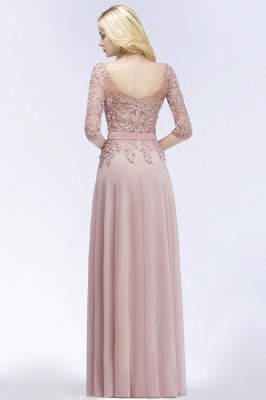 PAMELA | A-line Floor Length Half Sleeves Appliques Bridesmaid Dresses with Sash_3