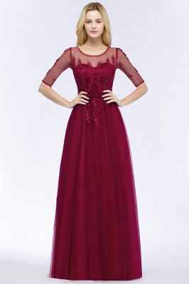 QUEENIE | A-line Floor Length Appliques Tulle Bridesmaid Dresses with Sleeves_3