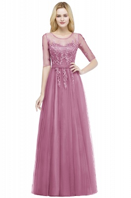 QUEENIE | A-line Floor Length Appliques Tulle Bridesmaid Dresses with Sleeves_2