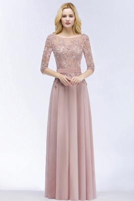 PAMELA | A-line Floor Length Half Sleeves Appliques Bridesmaid Dresses with Sash_5