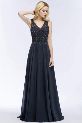 PATRICIA | A-line V-neck Sleeveless Long Appliqued Chiffon Prom Dresses with Crystals_7