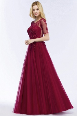 QUEENIE | A-line Floor Length Appliques Tulle Bridesmaid Dresses with Sleeves_10