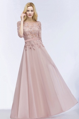 PAMELA | A-line Floor Length Half Sleeves Appliques Bridesmaid Dresses with Sash_6
