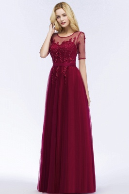 QUEENIE | A-line Floor Length Appliques Tulle Bridesmaid Dresses with Sleeves_7