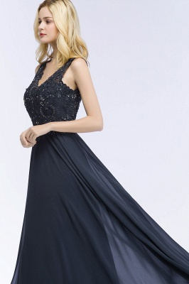 PATRICIA | A-line V-neck Sleeveless Long Appliqued Chiffon Prom Dresses with Crystals_6
