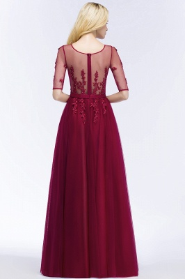 QUEENIE | A-line Floor Length Appliques Tulle Bridesmaid Dresses with Sleeves_6