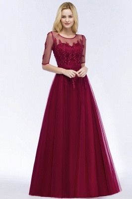 QUEENIE | A-line Floor Length Appliques Tulle Bridesmaid Dresses with Sleeves_8