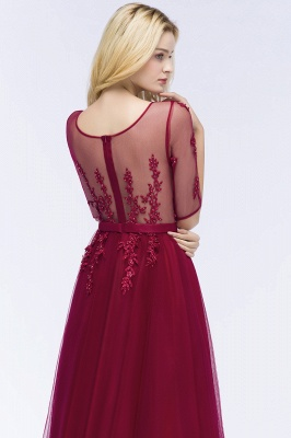QUEENIE | A-line Floor Length Appliques Tulle Bridesmaid Dresses with Sleeves_12