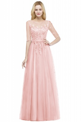 QUEENIE | A-line Floor Length Appliques Tulle Bridesmaid Dresses with Sleeves_1