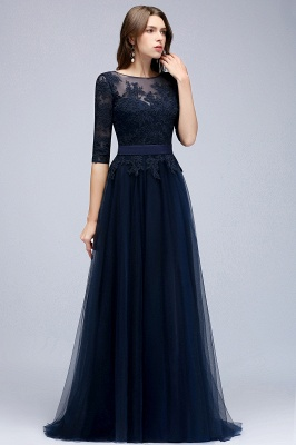 NANA | A-line Half Sleeves Floor Length Slit Appliqued Tulle Prom Dresses with Sash_7