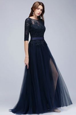 NANA | A-line Half Sleeves Floor Length Slit Appliqued Tulle Prom Dresses with Sash_11