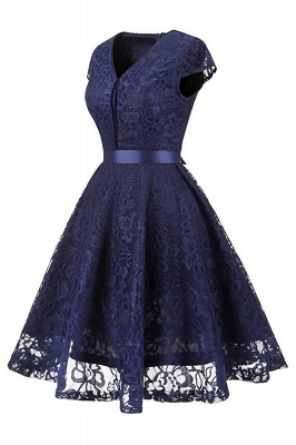 Women's Vintage 1950s Short Sleeve A-Line Cocktail Party Swing Dress with Floral Lace_3