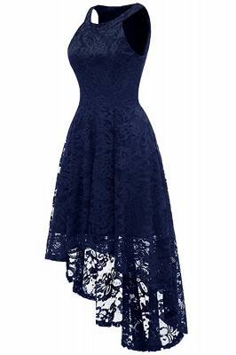 Lace Dress Female Robe Casual 1950s Rockabilly High Low Sleeveless Swing Summer Dresses_12