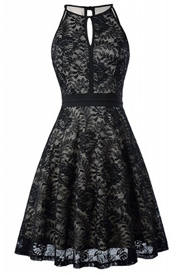 Women's Halter Floral Lace Cocktail Party Dress Homecoming Dress_17