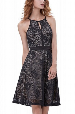 Women's Halter Floral Lace Cocktail Party Dress Homecoming Dress_3