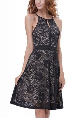 Women's Halter Floral Lace Cocktail Party Dress Homecoming Dress_1