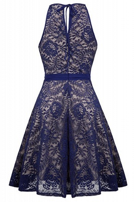 Women's Halter Floral Lace Cocktail Party Dress Homecoming Dress_7