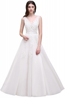 ADDYSON | A-line Floor-length Lace Tulle Wedding Dress with Appliques_1