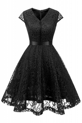 Women's Vintage 1950s Short Sleeve A-Line Cocktail Party Swing Dress with Floral Lace_7