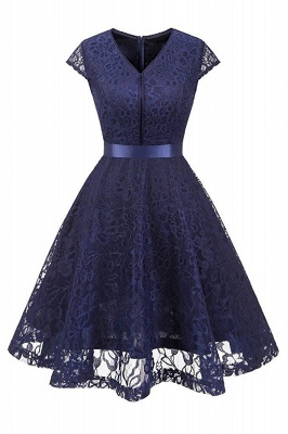 Women's Vintage 1950s Short Sleeve A-Line Cocktail Party Swing Dress with Floral Lace_1