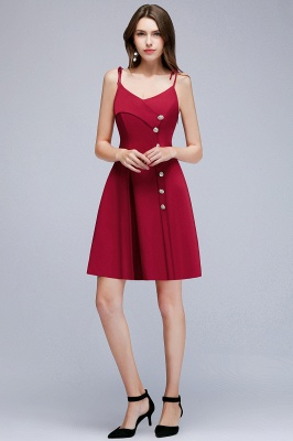MALVINA | A-line Short V-neck Spaghetti Burgundy Homecoming Dresses with Buttons_1