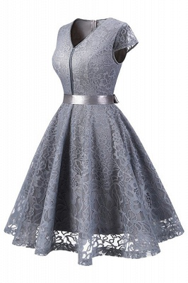 Women's Vintage 1950s Short Sleeve A-Line Cocktail Party Swing Dress with Floral Lace_4