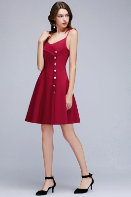 MALVINA | A-line Short V-neck Spaghetti Burgundy Homecoming Dresses with Buttons_5